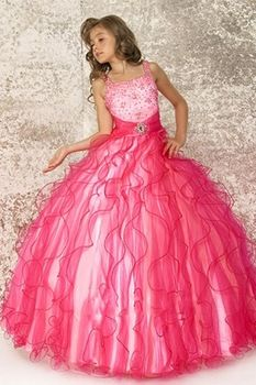 China Wholesale 2014 Ball Gown Tank Red Organza Luxury Beaded Ruffles Cheap Flower Girl Dresses ZYC3440