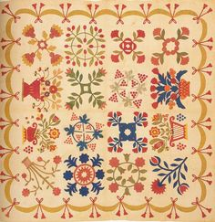 Album Quilt, 1863. Made by the Ladies of Bryansville. York Co, Pennsylvania.  Had the good fortune to see an exhibit of vintage Baltimore Album quilts @ the Baltimore Museum of Art.  Memorable