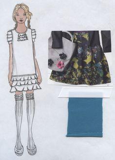 Printed ruffle dress w/ tucked slvs.