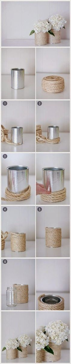 Flowers Diy Vase Decoration New Ideas Tin Can Crafts, Easy Diy Crafts, Creative Crafts, Decor Crafts, Creative Ideas, Homemade Christmas Gifts, Christmas Diy, Homemade Gifts, Christmas Wedding