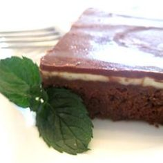 """Creme de Menthe Bars. I sub the homemade brownies for boxed brownies made """"cake like"""" when I'm in a hurry. Nomnomnom. Happy St. Patty's Day!"""