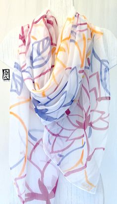 Hand Painted Silk Shawl Wine Red, Yellow and Blue Japanese Floral. White Silk Scarf. Silk Floral Scarf. Silk Chiffon Scarf. 43x72 in. on Etsy, $132.00