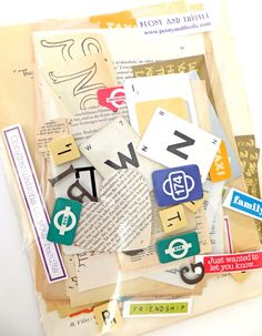 Words Language Letters Scrap Pack Collage by PeonyandThistle