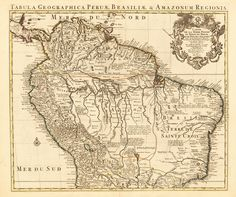 Brazil, South America Education Giclee Print - 41 x 41 cm Vintage Maps, Antique Maps, Early World Maps, Peru, Hellenistic Period, Classical Antiquity, Treasure Maps, Old Maps, Cool Posters