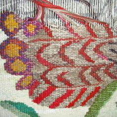 Detail of banksia tapestry, Dimity Kidston Modern Tapestries, Art Textile, Textiles, Tapestry Weaving, Weaving Techniques, Art Forms, Loom, Framed Art, Art Pieces