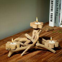 Resultado de imagem para decoraçao suporte de velas em madeira