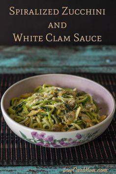 spiralized zucchini noodles clams white sauce recipe
