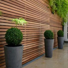 Today we have a collection of beautiful modern fence design ideas in the form of pictures for your inspiration. Garden Privacy, Outdoor Privacy, Backyard Privacy, Backyard Fences, Outdoor Planters, Garden Fencing, Backyard Landscaping, Privacy Fence Designs, Cedar Fence