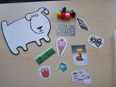Dog's Colorful Day by Emma Dodd:  great extension activity.  Could make a story bracelet or necklace using these pics for retelling.