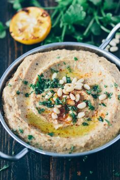 Roasted Lemon & Cauliflower Hummus- Would roast the garlic with the cauli and lemons next time and would amp up the lemon juice and add parsley. Gluten Free Recipes, Vegetarian Recipes, Healthy Recipes, Vegetable Recipes, Potato Recipes, Cauliflower Hummus, Real Food Recipes, Cooking Recipes, Healthy Snacks