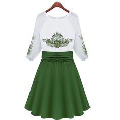 Major Western Slim Plus Size O Neck Chiffon Dress Green