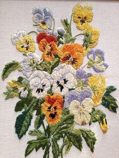 1980s Flower Bouquet Framed Crewel Needlework by PhospheneDreams