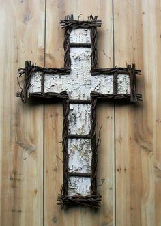 twig and birch bark cross