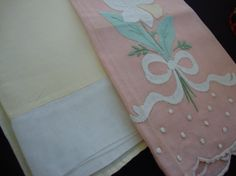 Two Cotton Tea Towels Napkins Yellow Pink Napkins Embroidered Linens Appliques Handmade Linens Vintage Linens Vintage Kitchen 110