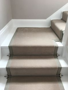Ulster Carpets Grey Velvet carpet fitted as taped stair runner with complimenting tape and Pewter stair rods to white painted staircase Best Carpet, Diy Carpet, Carpet Ideas, Stair Carpet Rods, Stair Rods, Carpet Fitting, Painted Staircases, Hallway Inspiration