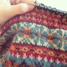 Knitting a design sample that I'm very much in love with. Which is a good job as I have a fair-isle way to go yet! What are you working on that you love & can't put down? Fair Isle Knitting Patterns, Fair Isle Pattern, Knitting Charts, Knitting Stitches, Knit Patterns, Yarn Projects, Knitting Projects, Knit Stranded, Fair Isles