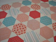 Baby Girl Quilt, Hexagon Patchwork Crib Quilt, Blush Pink and Aqua Nursery Quilt, Quiltsy Handmade by VillageQuilts on Etsy