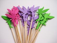 24 Pink, Purple & Green Tinkerbell Party Picks These picks are double sided and look great from the back or front and are the perfect accent for any celebration! Fairy Birthday Party, 6th Birthday Parties, Birthday Cake Girls, Birthday Party Decorations, Party Themes, Party Ideas, Festa Thinker Bell, Tinkerbell Gifts, Hey Baby Girl
