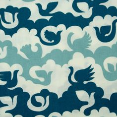 "Baumwollstoff ""Birds and clouds blue"" von Birch Fabrics Birds, Clouds, Fabric, Blue, Art, Tejidos, Cotton Fabric, Tejido, Art Background"