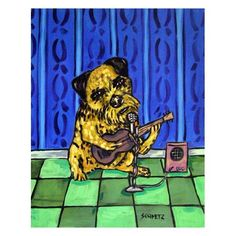 Border Terrier Playing the Guitar Dog Art Print 8x10 by lulunjay, $12.49