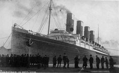 RMS Lusitania gained infamy as the torpedoed ship that brought America into World War I. But what became of her reliable sister ship? She would spend spend her final days alongside RMS Olympic. Titanic Ship, Rms Titanic, Rms Mauretania, Nautical Lighting, Haunting Photos, Beyond The Sea, Civil War Photos, Tall Ships, Military Art