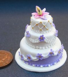 1:12 Scale Wedding Cake With Flowers Dolls House Miniature Accessory Y | eBay