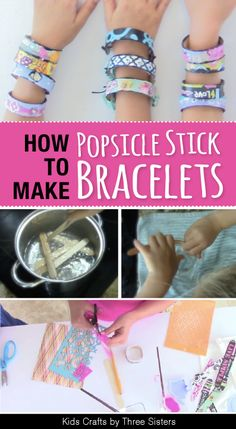Learn how to make Popsicle Stick Bracelets using jumbo popsicle sticks or craf Easy popsicle stick craft. Learn how to make Popsicle Stick Bracelets using jumbo popsicle sticks or craft sticks. Craft Stick Projects, Diy Crafts To Do, Craft Stick Crafts, Craft Sticks, Craft Tutorials, Quick Crafts, Craft Ideas, Popsicle Stick Bracelets, Popsicle Stick Crafts For Kids