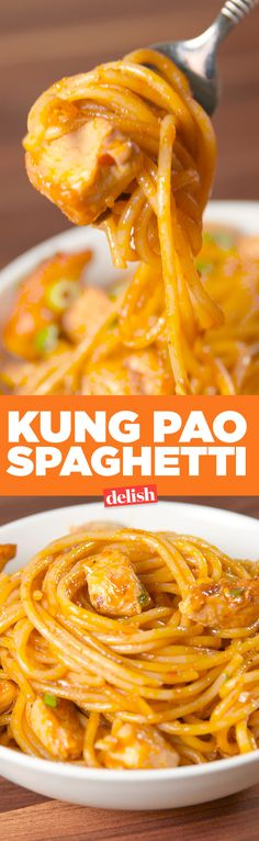 Our Kung Pao Spaghetti is better than California Pizza Kitchen's. Get the recipe on Delish.com.