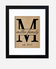 burlap monogram for the gallery wall