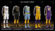 Los Angeles Lakers uniform set, 2017-18.