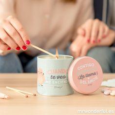 Vela lata - Cuando te veo, ¡me enciendo! Ideal para pasarte largas horas reviviendo una y otra vez vuestra historia más mágica. #mrwonderfulshop #candle #magic #sanvalentin #valentinesday #love #loveyou #couple