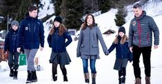 Prince Christian, Princess Isabella, Prince Vincent and Princess Josephine in Verbier. Crown Princess Mary wore a wool vest by Moncler Crown Princess Victoria, Crown Princess Mary, Princess Charlotte, Denmark Royal Family, Danish Royal Family, Prince Frederik Of Denmark, Royal Christmas, Ceremony Dresses, Princess Madeleine