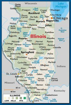 Illinois Map Waukegan In Upper Right Hand Corner About 40 Miles North Of Chicago