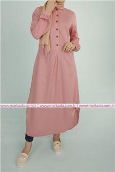 Düğme Detaylı Tunik-Pudra-Allday-50349 #tesettür #giyim #ayakkabı #pantolon #allday #markaala #düğme #hijab #elbise #tunik #pardesü #ferace #çanta