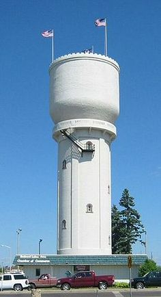 """The Brainerd Water Tower is located in Brainerd, Minnesota. It was the first all-concrete elevated tank used by a municipality in the United States; even though it was replaced in 1960, it remains standing as an icon of the town. It is referred to as """"Paul Bunyan's Cup"""" by local residents. The similar Pipestone Water Tower, also made of concrete, located in Pipestone, Minnesota, is the only other water tower in the U.S. known to have been designed by the architect L.P. Wolff."""