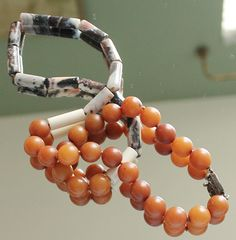 Interesting Agate Necklace Resin Beads w Sterling Clasp | eBay