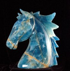 Blue Calcite Horse Carving