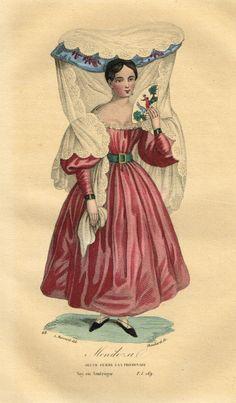 Mendozal - Jeune femme à la promenade - Voyage en Amérique - Tome I page 169 - Histoire pittoresque des voyages par L.-E. Hatin - 1844 - MAS Estampes Anciennes - Antique Prints