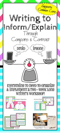 Everything you need to organize and implement a Writer's Workshop on Writing to Inform and Explain through Compare and Contrast. Perfect for supporting Common Core! Engaging topic; bright, beautiful materials; & detailed lesson plans.