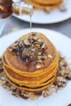 Pumpkin Buttermilk Pancakes with Brown Butter and Pecan Streusel ~ Yes please!