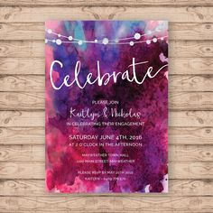 Watercolour Engagement Invitation - Print At Home File or Printed Invitations - Watercolor Personalised Berry Engagement Invite - Unique by PaperCrushAus on Etsy