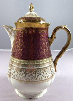 Antique Tea Pot O & EG Royal Austria China- Burgundy/Gold