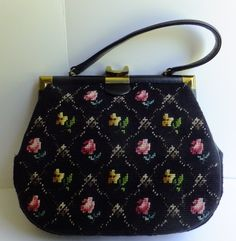 1950's Floral Needlepoint Purse