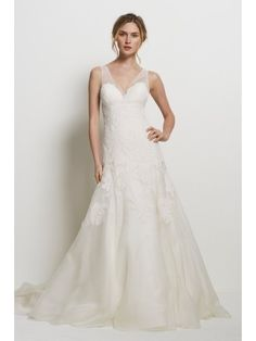 Love the strapless look to this, with the sheer straps  Ivory A-line V-neck Chapel Trian Organza Lace Applique Wedding Dress - Didobridal