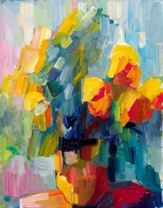 Yellow Roses By Lena Levin eclectic artwork Eclectic Artwork, Arte Floral, Painting Inspiration, Flower Art, Abstract Art, Abstract Paintings, Modern Art, Art Projects, Art Drawings