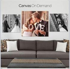 In order for you to get a feeling of this experience, we virtually entered the homes of some families that already incorporated this idea. We created a collection of Family Photo Canvas for a Personalized Home Experience. Canvas Wedding Pictures, Wedding Picture Walls, Wedding Canvas, Wedding Wall, Wedding Photos, Canvas Pictures, Wedding Collage, Above Bed, Family Wall