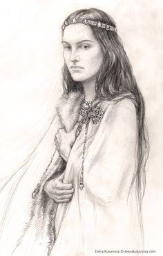 Morwen by Elena Kukanova.  I wish there had been more about Morwen. She appears mainly as Túrin's mother and Húrin's wife, but she was clearly a great woman who dealt with her life's hardships formidably (certainly better than her son).