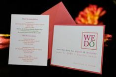 These custom #SaveTheDateinvitations were designed for an #Austinweddingcouple wanting a fun look. The unique color combination of orange, pink and green came together perfectly. We didn't have to say a lot; the message was clear. On the matching hotel accommodations card, the fun colors continued. The matching colored envelope stood out from the rest of the mail. Let us find your style. Call the design team at 512.323.0600. Our 28th year!