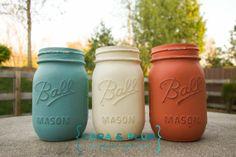 Hey, I found this really awesome Etsy listing at https://www.etsy.com/listing/188640190/shabby-chic-painted-mason-jars-orange