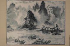 Купить Туман - серый, пейзаж, китайский стиль, китайская живопись, китайский пейзаж, Батик